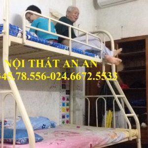 Giường tầng An An- Giường tầng sắt màu kem giá rẻ Hà Nội tầng trên 1m0 tầng dưới rộng 1m4 cho cả gia đình-MSP: GSTAA25