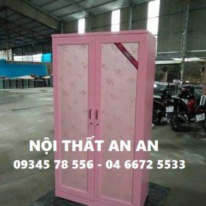 Tủ quần áo LẮP RÁP cao cấp 2 buồng màu hồng, Nội thất An An - MSP: TCCAA24
