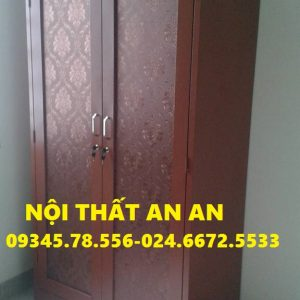 Tủ quần áo LẮP RÁP cao cấp 2 buồng màu gụ (vân gỗ), Nội thất An An – MSP: TCCAA23